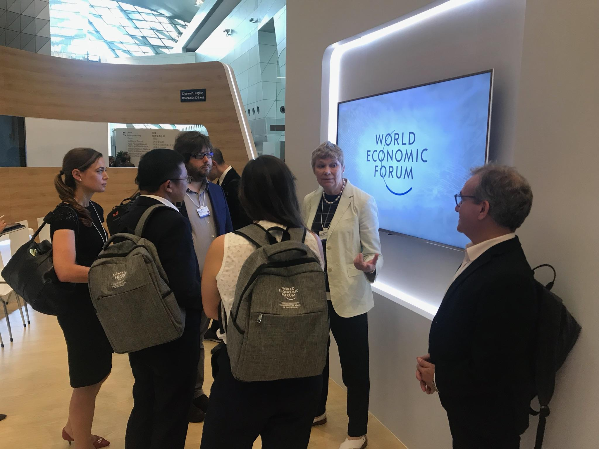 Prof Balkwill speaking to guests at World Economic Forum.