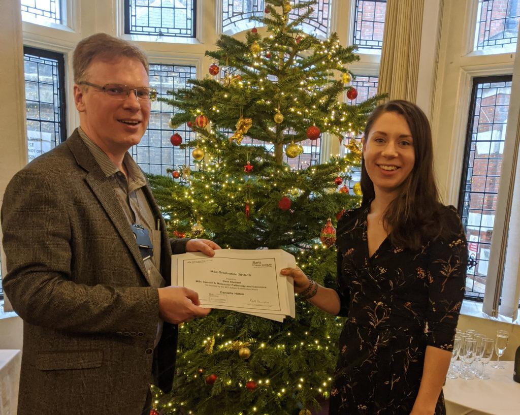 Congratulations to this year's BCI graduates. Danielle Hilton was awarded the prize for Best Student on the MSc Cancer & Molecular Pathology and Genomics course.