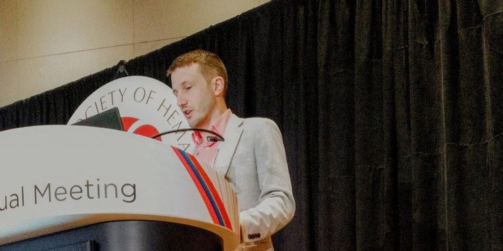 Dr James Aries presenting at ASH 2019.