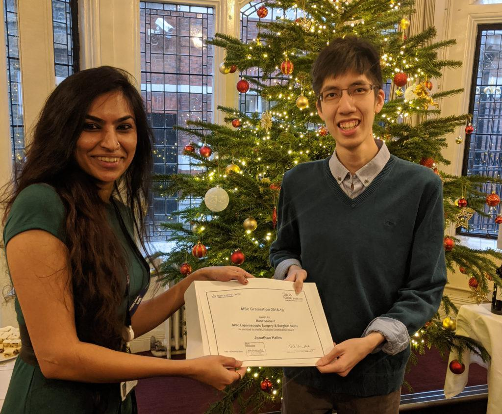 Congratulations to this year's BCI graduates. Jonathan Halim was awarded the prize for Best Student on the MSc Laparoscopic Surgery & Surgical Skills course.
