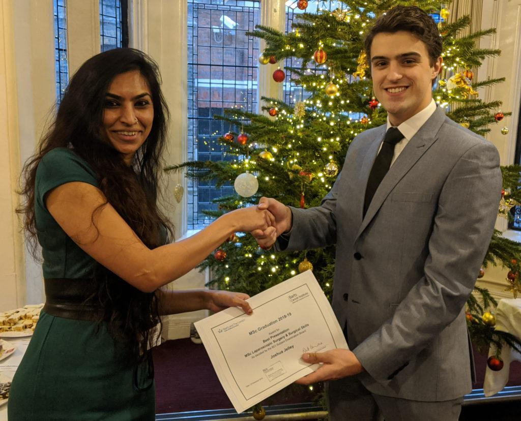 Congratulations to this year's BCI graduates. Joshua Jelley was awarded the prize for Best Presentation on the MSc Laparoscopic Surgery & Surgical Skills course.
