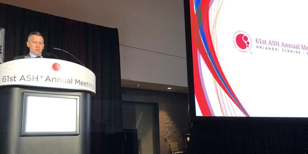 Dr Robin Sanderson presenting at ASH 2019.