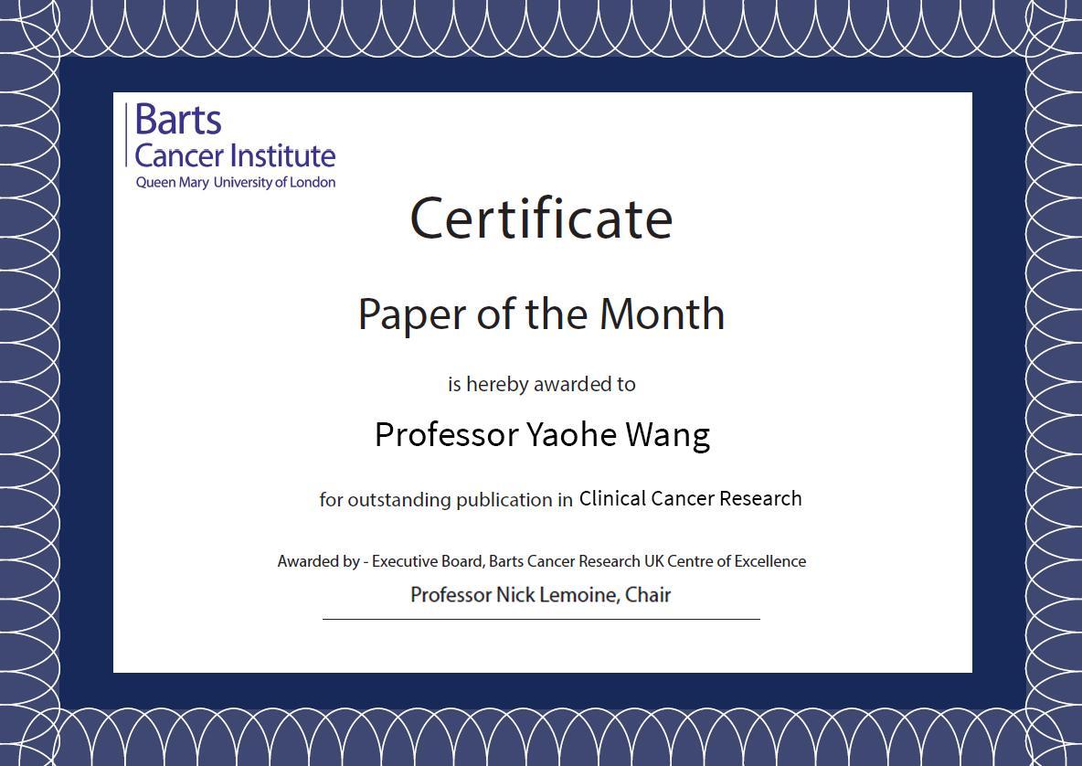 POTM Prof Wang Nov 2019